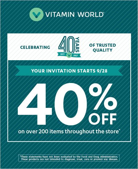 Vitamin World – 40% off Store Wide Sale