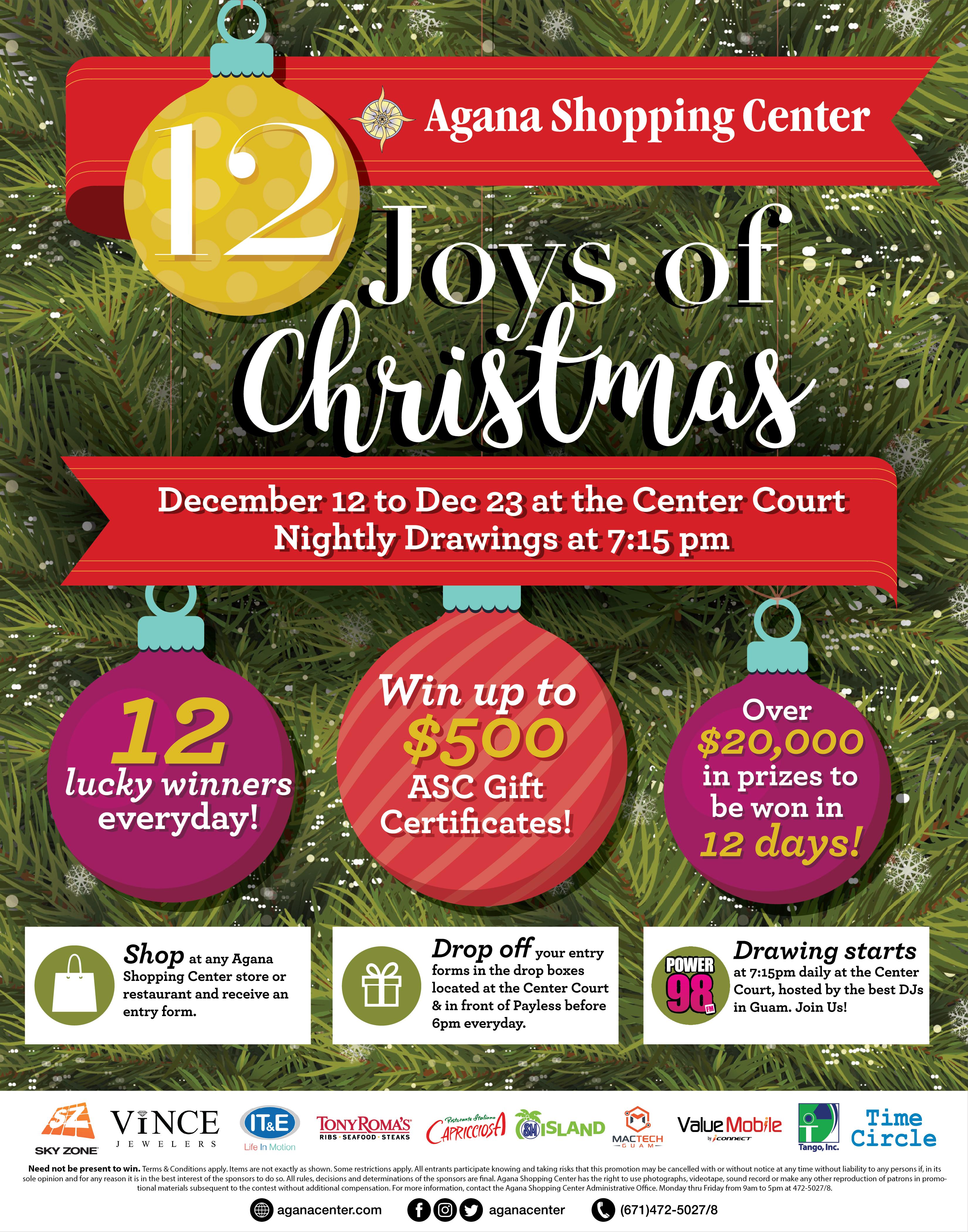 The Joys Of Christmas.12 Joys Of Christmas Agana Shopping Center