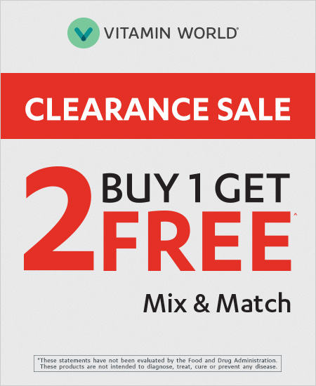 Vitamin World – Buy 1 Get 2 Free Clearance Mix and Match